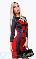 Облегющее платье с кожаной отделкой S M L
