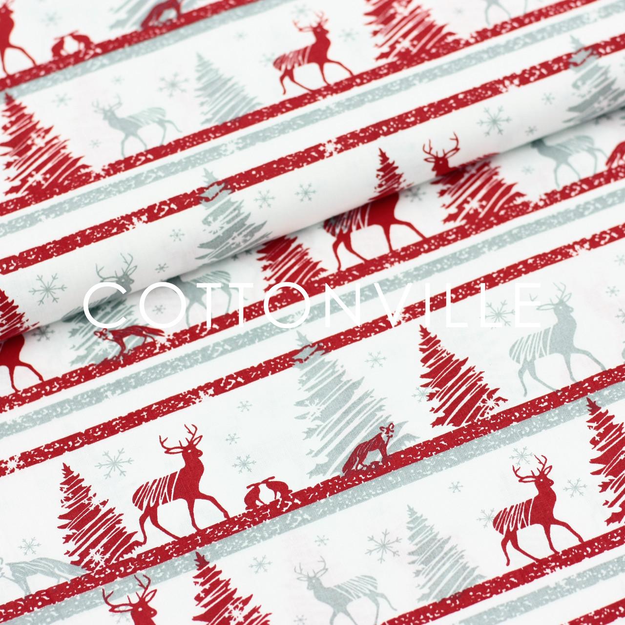 Хлопковая ткань Олени серо-красные