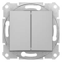 Выключатель двухклавишный Алюминий Sedna SDN0300160
