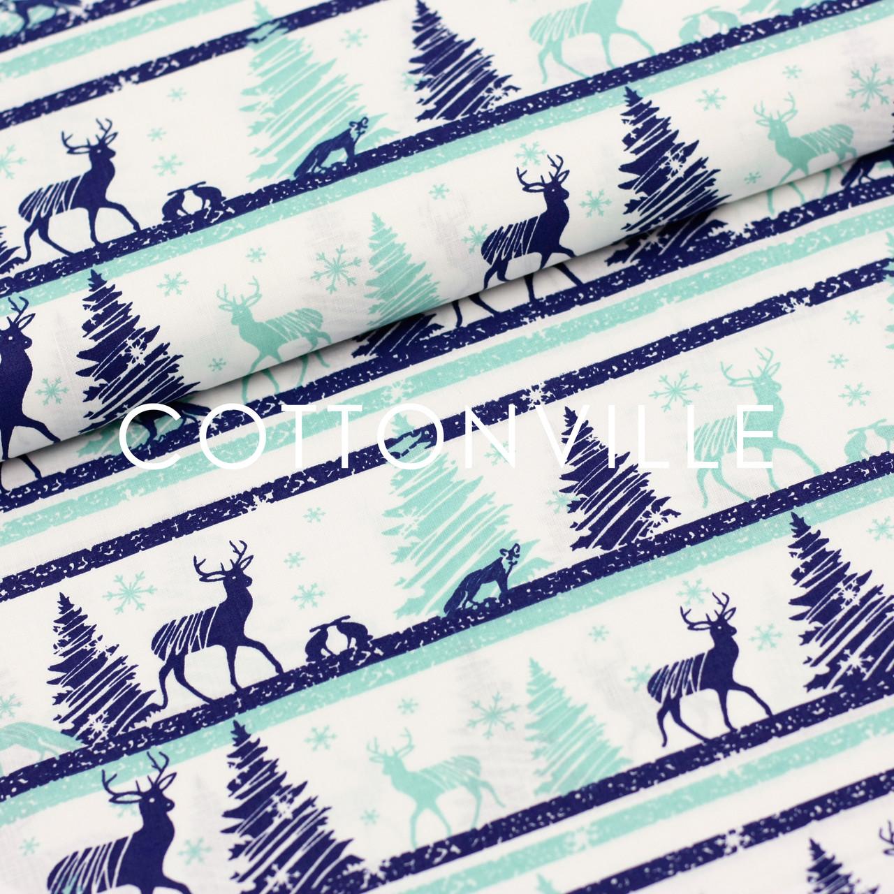 Хлопковая ткань Олени мятно-синие