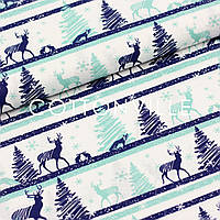 Хлопковая ткань Олени мятно-синие, фото 1