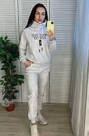 Жіночий турецький утеплений спортивний костюм, світло-сірий, фото 1