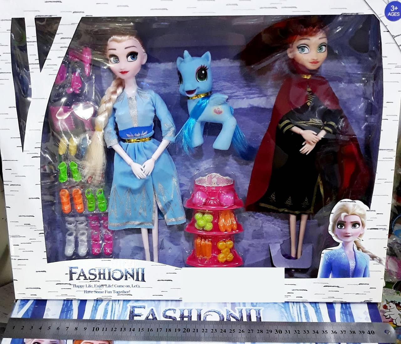 Игровой набор куклы Анна и Эльза, единорог