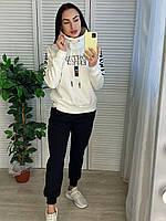 Женский турецкий утепленный  спортивный костюм, белый с черным, фото 1