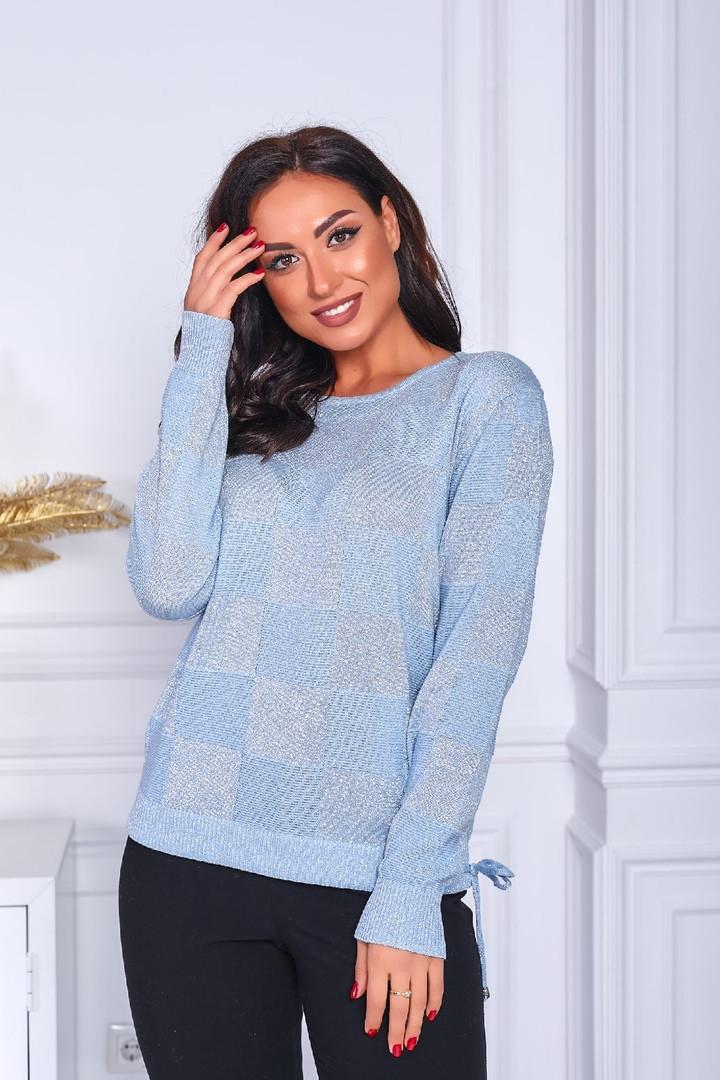 Женский свитер батал, тонкая машинная вязка, р-р универсальный 48-52 (голубой)