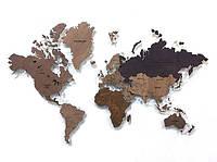 Настенная карта мира из дерева