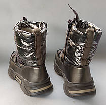 Детские дутики зимние теплые сапоги на зиму для девочки бронза Alaska 33р 20.5см, фото 2