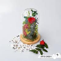 Колба с розой «Green&red» стабилизированные растения, мох, композиции в колбе