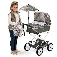 """Коляска-люлька для кукол DeCuevas """"Reborn"""" с рюкзаком и зонтиком Серая Арт. 82024"""