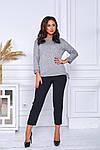 Женский свитер батал, тонкая машинная вязка, р-р универсальный 48-52 (серый), фото 2