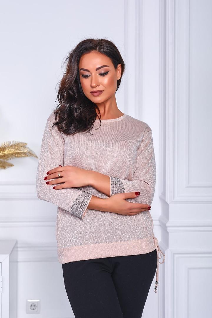 Женский свитер батал, тонкая машинная вязка, р-р универсальный 48-52 (пудровый)