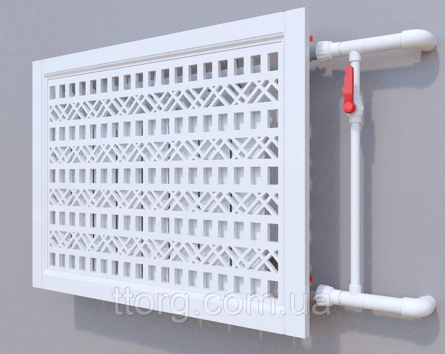 Декоративная решетка на батарею SMARTWOOD   Экран для радиатора   Накладка на батарею 600*600 Короб, Без отделки, 600*900