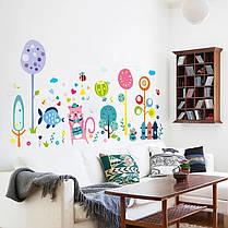 """Вінілові наклейки на стіну, шафи в дитячу """"веселий настрій з рожевим котом"""" 67см*130см"""" (лист 60*90см), фото 3"""