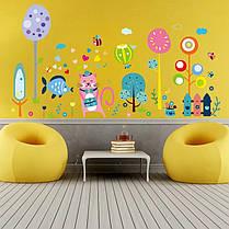 """Виниловые наклейки на стену, шкафы в детскую """"веселое настроение с розовым котом"""" 67см*130см"""" (лист 60*90см), фото 3"""