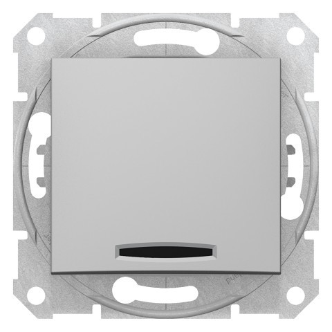 Одноклавишный проходной переключатель с синей подсветкой Алюминий Sedna SDN1500160