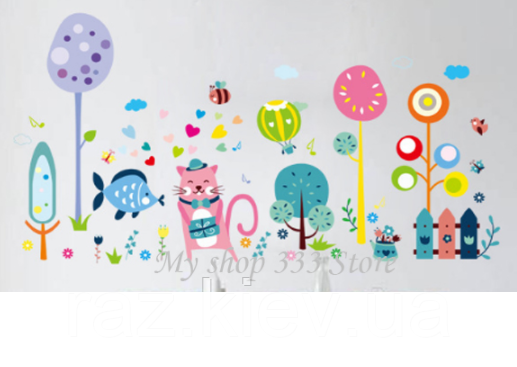 """Виниловые наклейки на стену, шкафы в детскую """"веселое настроение с розовым котом"""" 67см*130см"""" (лист 60*90см)"""