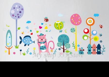 """Вінілові наклейки на стіну, шафи в дитячу """"веселий настрій з рожевим котом"""" 67см*130см"""" (лист 60*90см), фото 2"""