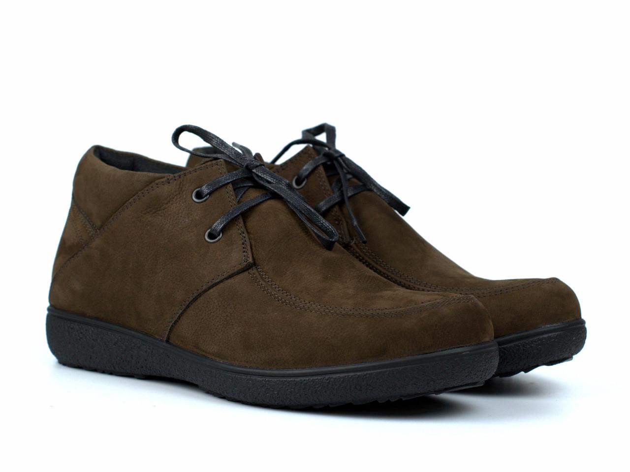 Ботинки коричневые нубук обувь мужская зимняя Rosso Avangard Basemokas Brown Nub