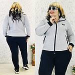 Женский спортивный костюм батал, турецкая трехнить на флисе, р-р 50; 52; 54; 56 (меланж), фото 4