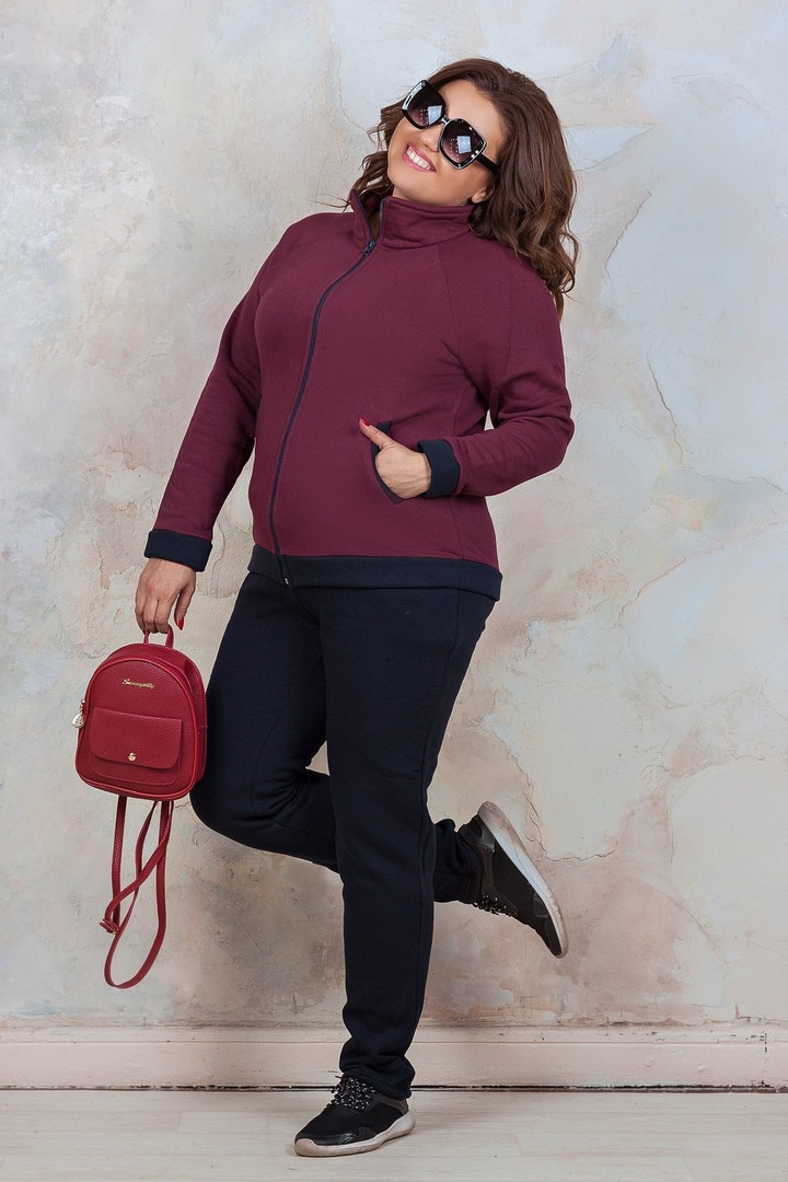 Женский спортивный костюм батал, турецкая трехнить на флисе, р-р 50; 52; 54; 56 (марсала)