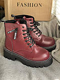 Яскраві вишневі зимові черевики, фото 7