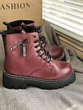 Яскраві вишневі зимові черевики, фото 5
