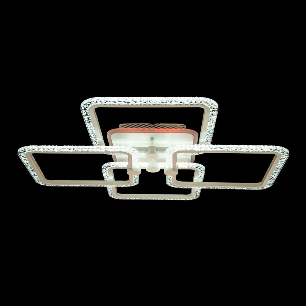 """Світлодіодна люстра """"квадрати"""" 110 Вт з бабл акрилом і підсвічуванням підстави D-MX3651/2+2L LED 3color dimmer"""