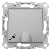 Розетка с заземлением с защ. шторками и крышкой алюминий Sedna SDN3100160