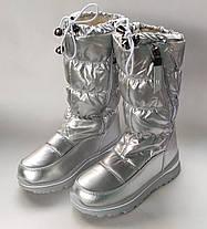 Детские дутики зимние теплые сапоги на зиму для девочки серебро Alaska 32р 20см, фото 2