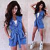 Комбинезон с шортами джинс стрейч с поясом, фото 4