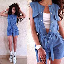 Комбинезон с шортами джинс стрейч с поясом, фото 2