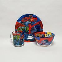 Детский набор стеклянной посуды Джипы