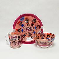 Детский набор стеклянной посуды Лол (Lol) розовый