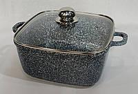 Казан с крышкой UNIQUE UN-5204 гранитное покрытие, 2,4л, 20см, квадратный, посуда, казан, фото 1