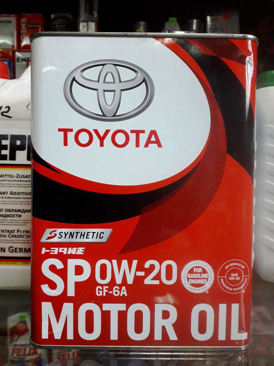 Оригинальное моторное масло TOYOTA SP GF6A 0W-20, 4л.