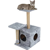 Домик-когтеточка с полкой Маша 46х36х80 см (дряпка) для кошки Серый