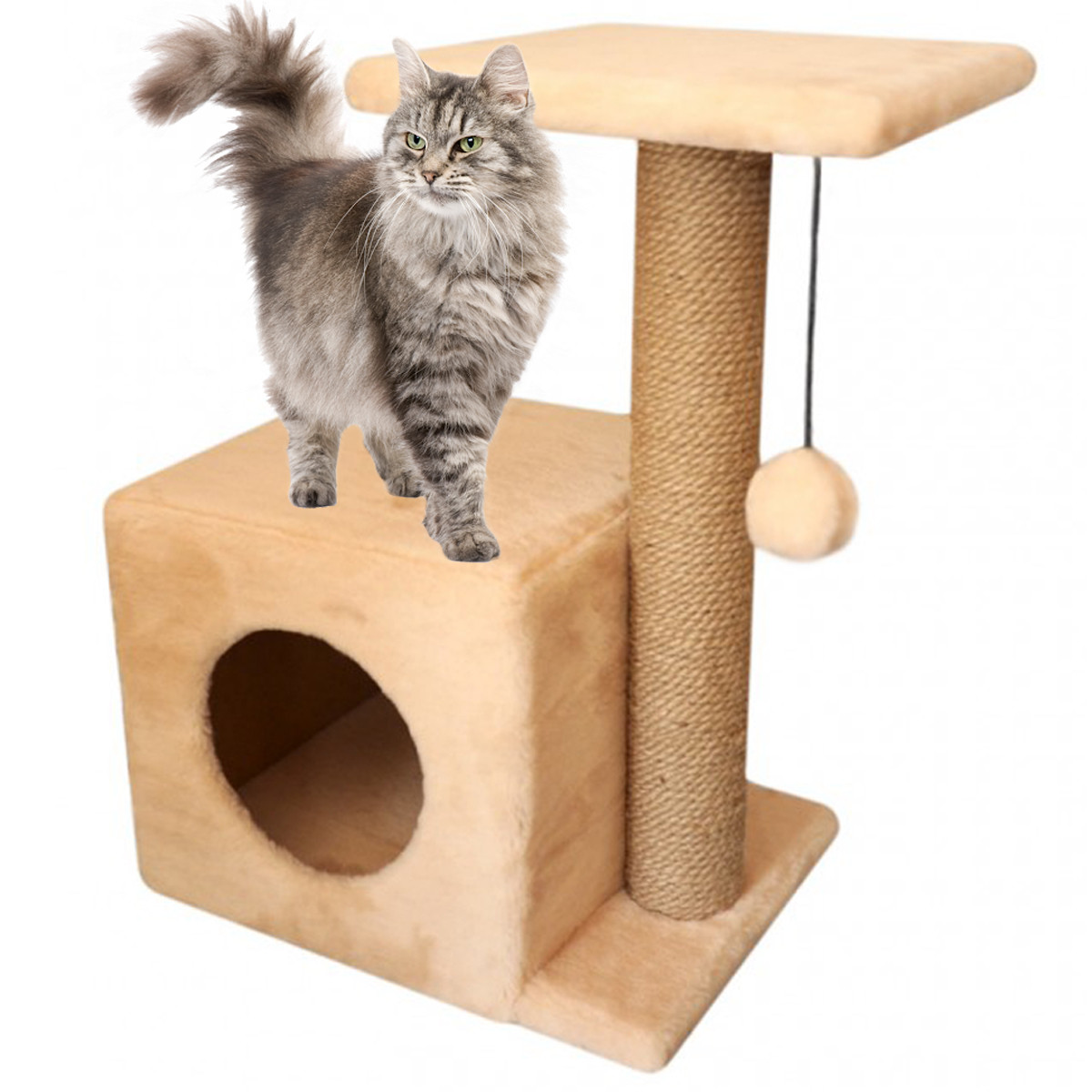 Домик-когтеточка с полкой Мелисса 46х36х60см (дряпка) для кошки Бежевый
