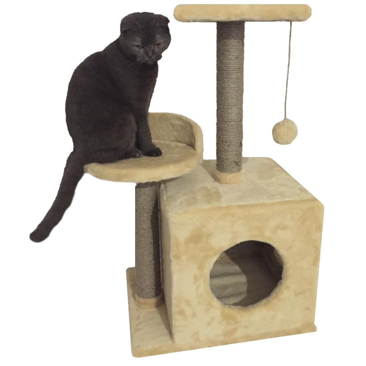 Домик-когтеточка с полкой Буся 36х46х80см (дряпка) для кошки Бежевый
