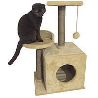 Домик-когтеточка с полкой Буся 36х46х80см (дряпка) для кошки Бежевый, фото 1
