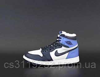 Жіночі зимові кросівки Air Jordan 1 Retro (хутро) (блакитний)