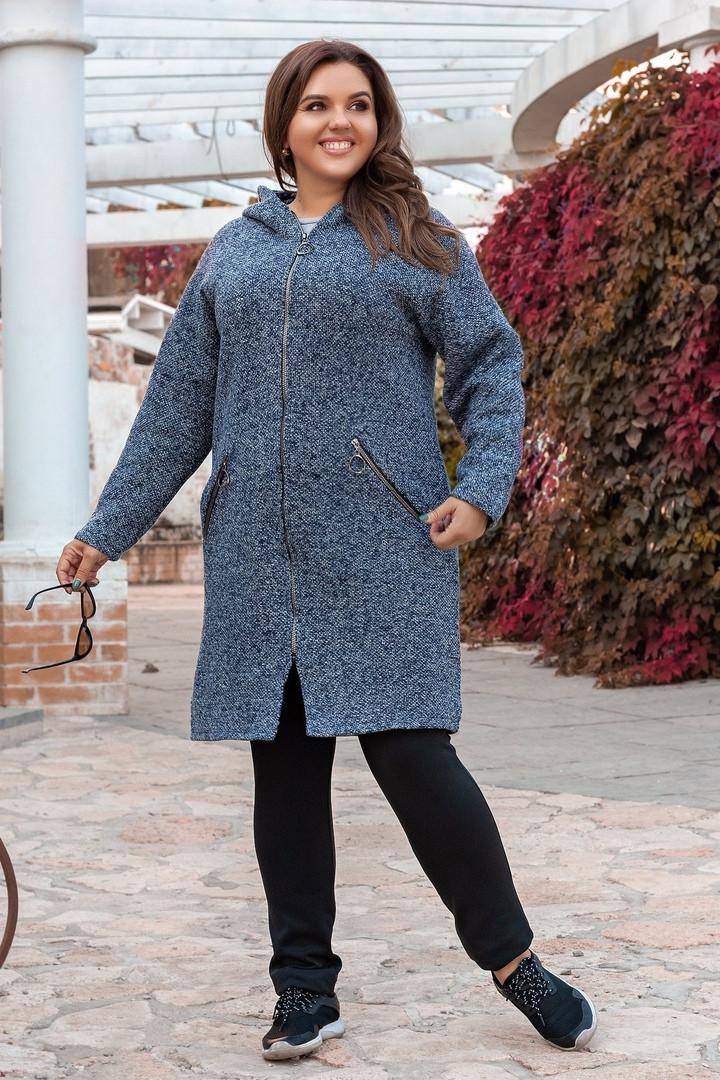 Женское пальто батал, турецкое пальтовое букле, р-р универсальный 52-56 (синий)