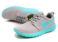 Женские кроссовки Nike Roshe Run, найк роше ран серо-бирюзовые