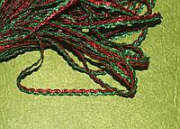 Тесьма зиг-заг парчёвая 822 красно-зелёная