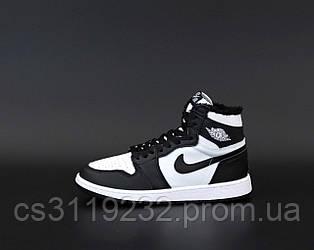 Жіночі зимові кросівки Air Jordan 1 Retro Winter (хутро) (чорний/білий)