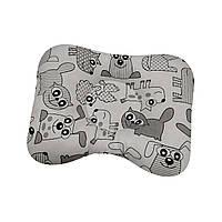 Ортопедическая подушка для новорожденных двухсторонняя Собачки серые