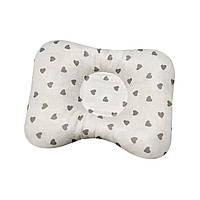Ортопедическая подушка для новорожденных двухсторонняя Сердечки белые и серые