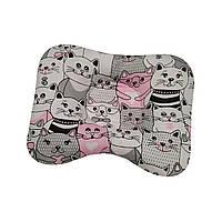 Ортопедическая подушка для новорожденных двухсторонняя Коты серые и розовые