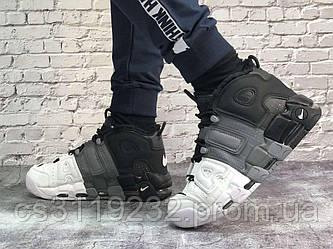 Чоловічі зимові кросівки Nike Air More Uptempo Winter (хутро) (білий/сірий/чорний)