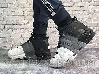 Мужские кроссовки зимние Nike Air More Uptempo Winter (мех) (белый/серый/черный)
