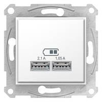 Розетка USB 2 выхода 2.0 5V-DC макс 2.1A белая Sedna SDN2710221